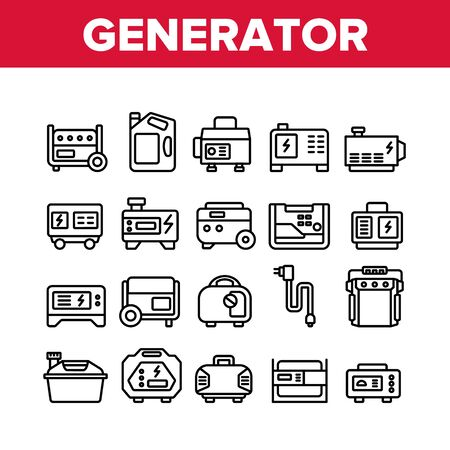 Portable Generator Collection Icons Set Vector. Generator Equipment For Generating Electricity, Fuel Bottle Package And Electrical Cord Concept Linear Pictograms. Monochrome Contour Illustrations Stock Illustratie