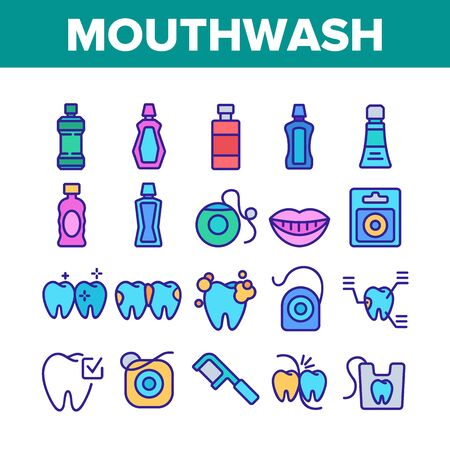 Mouth Wash Hygiene Collection Icons Set Vector. Mouth Wash Liquid Bottle And Toothpaste Tube, Dental Floss And Teeth Tool Oral Care Cleaner Concept Linear Pictograms. Color Illustrations