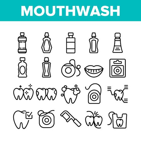 Mouth Wash Hygiene Collection Icons Set Vector. Mouth Wash Liquid Bottle And Toothpaste Tube, Dental Floss And Teeth Tool Oral Care Cleaner Concept Linear Pictograms. Monochrome Contour Illustrations
