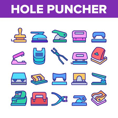 Hole Puncher Tool Collection Icons Set Vector. Hole Puncher Stationery Equipment, Office Accessory, Punching Paper Instrument Concept Linear Pictograms. Color Illustrations