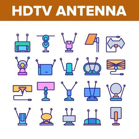 Hdtv Antenna Device Collection Icons Set Vector. Hdtv Antenna Gadget For Tv Broadcasting Signal, Media Equipment, Frequency Appliance Concept Linear Pictograms. Color Illustrations