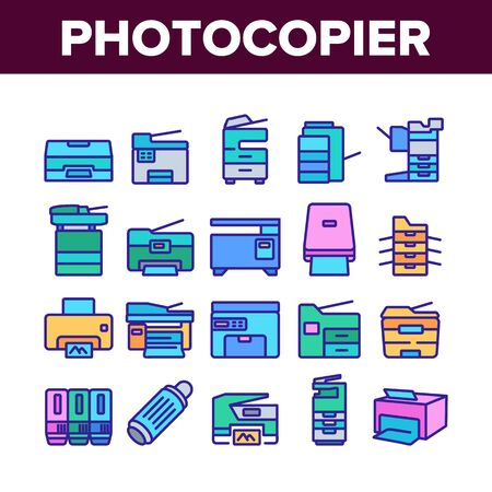 Photocopier Device Collection Icons Set Vector. Professional Photocopier And Scanner Equipment And Ink, Electronic Multifunctional Printer Concept Linear Pictograms. Color Illustrations Stock Illustratie