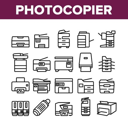 Photocopier Device Collection Icons Set Vector. Professional Photocopier And Scanner Equipment And Ink, Electronic Multifunctional Printer Concept Linear Pictograms. Monochrome Contour Illustrations