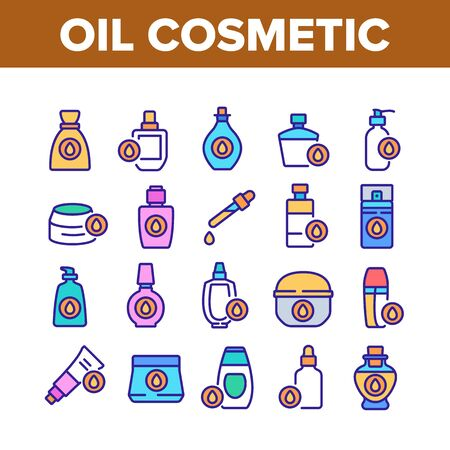 Oil Cosmetic Skin Care Collection Icons Set Vector. Essential Aromatic Oil Container And Bottle, Package And Pipette, Aromatherapy Concept Linear Pictograms. Color Illustrations Stock Illustratie