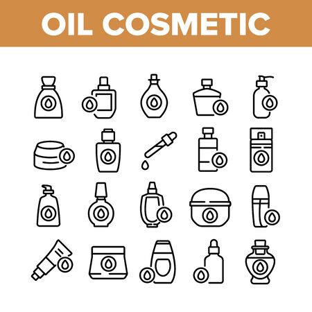 Oil Cosmetic Skin Care Collection Icons Set Vector. Essential Aromatic Oil Container And Bottle, Package And Pipette, Aromatherapy Concept Linear Pictograms. Monochrome Contour Illustrations