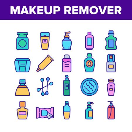Makeup Remover Lotion Collection Icons Set Vector. Cosmetic Makeup Remover Cotton And Stick, Tube And Container, Spray And Bottle Concept Linear Pictograms. Color Illustrations