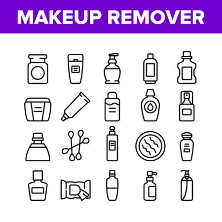 Makeup Remover Lotion Collection Icons Set Vector. Cosmetic Makeup Remover Cotton And Stick, Tube And Container, Spray And Bottle Concept Linear Pictograms. Monochrome Contour Illustrations
