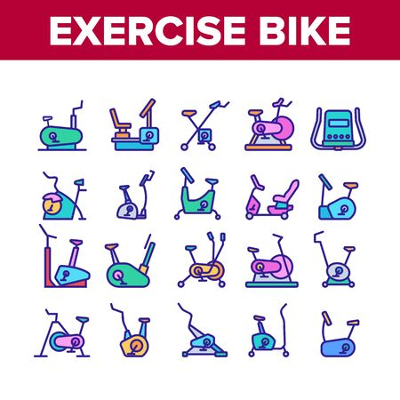 Exercise Bike Sport Collection Icons Set Vector. Bike Sportive Equipment, Gym And Fitness Physical Training Health Activity Tool Concept Linear Pictograms. Color Illustrations