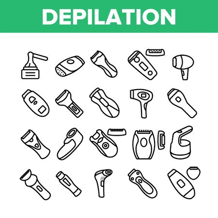 Depilation Equipment Collection Icons Set Vector. Epilator Depilation Electronic Device Accessory And Hot Wax For Hair Epilation Concept Linear Pictograms. Monochrome Contour Illustrations Stock Illustratie