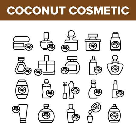 Coconut Cosmetic Pack Collection Icons Set Vector. Coconut Cream Packaging Bottles And Containers, Oil Drop And Lipstick Concept Linear Pictograms. Monochrome Contour Illustrations