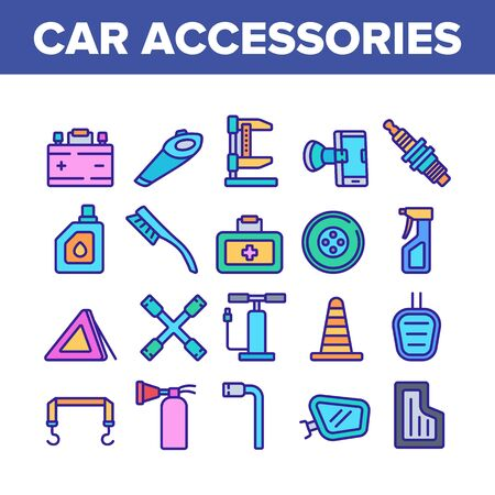 Car Accessories Tool Collection Icons Set Vector. Car Battery And Brush, Vacuum Cleaner And Jack, Wrench And Pump, Mirror And Mat Concept Linear Pictograms. Color Illustrations