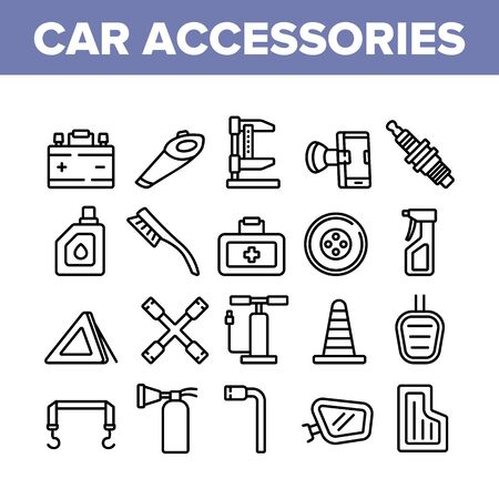 Car Accessories Tool Collection Icons Set Vector. Car Battery And Brush, Vacuum Cleaner And Jack, Wrench And Pump, Mirror And Mat Concept Linear Pictograms. Monochrome Contour Illustrations 向量圖像