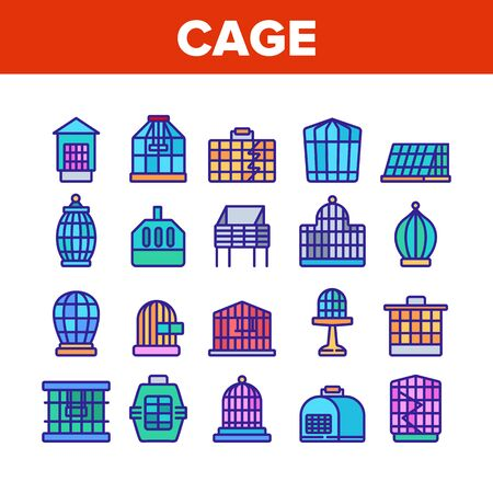 Cage Domestic Animal Collection Icons Set Vector. Bird Or Parrot Cage And For Transportation Dog Puppy Or Cat Pet Equipment Concept Linear Pictograms. Color Illustrations