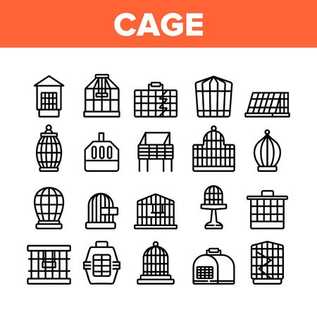 Cage Domestic Animal Collection Icons Set Vector. Bird Or Parrot Cage And For Transportation Dog Puppy Or Cat Pet Equipment Concept Linear Pictograms. Monochrome Contour Illustrations