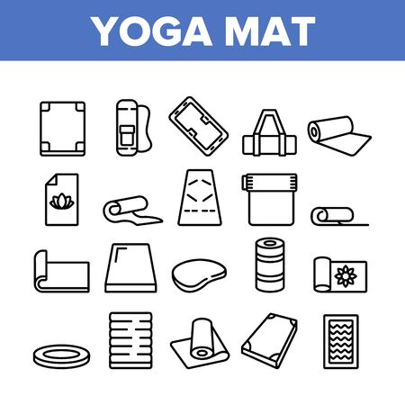 Yoga Mat Accessory Collection Icons Set Vector. Yoga Mattress For Sport Physical Exercising And Fitness, Rolled And With Handle Concept Linear Pictograms. Monochrome Contour Illustrations Stock Illustratie