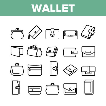 Wallet Accessory Cash Collection Icons Set Vector. Wallet In Different Style For Storaging Money And Coin, Credit Card And Document Concept Linear Pictograms. Monochrome Contour Illustrations