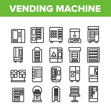 Vending Machine Selling Service Icons Set Vector. Vending Machine Technology With Food And Drink, Coffee And Tea, Bubbles Gum And Toys Concept Linear Pictograms. Monochrome Contour Illustrations Illustration