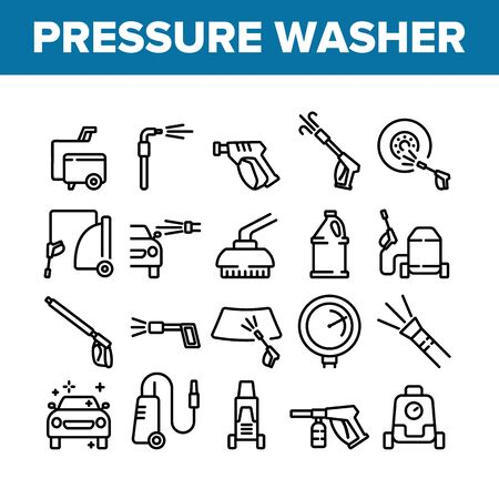 Pressure Washer Tool Collection Icons Set Vector. Pressure Washer Equipment For Wash Car Wheel And Glass, Brush And Sprayer Concept Linear Pictograms. Monochrome Contour Illustrations Ilustração
