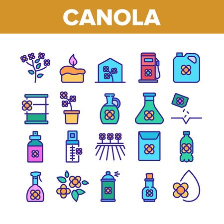 Canola Agricultural Collection Icons Set Vector. Canola Agriculture Flower Field And Pot, Oil And Spray, Greenhouse And Seeds Color Illustrations Ilustração