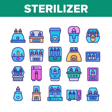Sterilizer Device Collection Icons Set Vector. Sterilizer Electronic Equipment Milk Bottle For Cleaning, Steaming And Disinfection Color Illustrations