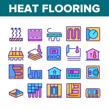 Heat Flooring Device Collection Icons Set Vector. Flooring Temperature Control Regulator And Equipment For Heating Room And House Color Illustrations