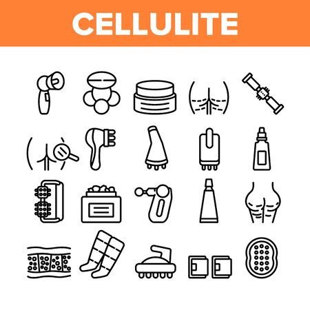 Cellulite Combat Tool Collection Icons Set Vector. Anti-cellulite Cream Cosmetic And Massager Equipment, Cellulite And Fat Research Body Concept Linear Pictograms. Monochrome Contour Illustrations Vectores