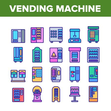 Vending Machine Selling Service Icons Set Vector. Vending Machine Technology With Food And Drink, Coffee And Tea, Bubbles Gum And Toys Color Illustrations