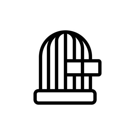 cage with feeding trough icon vector. cage with feeding trough sign. isolated contour symbol illustration