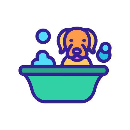 dog washing in bathtub icon vector. dog washing in bathtub sign. isolated color symbol illustration Stock Illustratie