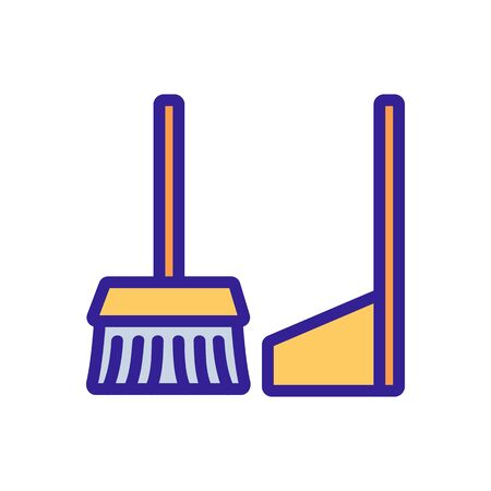 dustpan and brush for clean room icon vector. dustpan and brush for clean room sign. isolated color symbol illustration