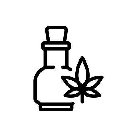 cannabis elixir in glass bottle icon vector. cannabis elixir in glass bottle sign. isolated contour symbol illustration