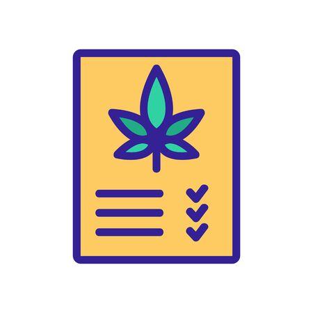 medicine receipt for smoke cannabis icon vector. medicine receipt for smoke cannabis sign. color symbol illustration