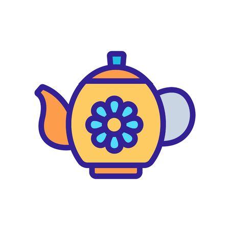 chamomile tea in teapot icon vector. chamomile tea in teapot sign. color symbol illustration 向量圖像