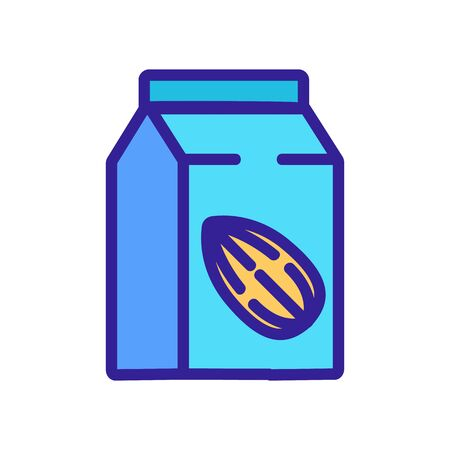almond milk package icon vector. almond milk package sign. color symbol illustration 向量圖像