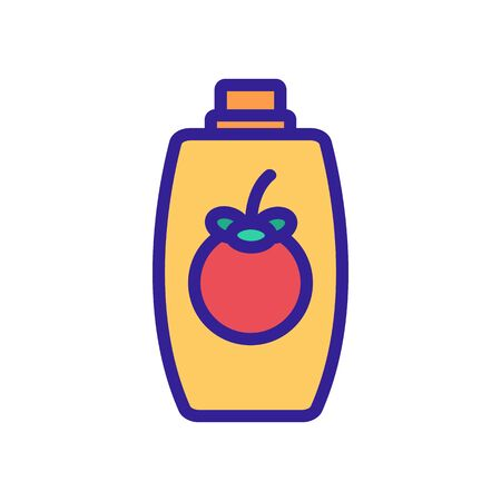mangosteen shampoo bottle icon vector. mangosteen shampoo bottle sign. color symbol illustration Illustration