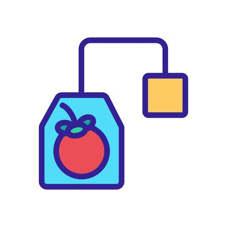 mangosteen tea bag with label icon vector. mangosteen tea bag with label sign. color symbol illustration