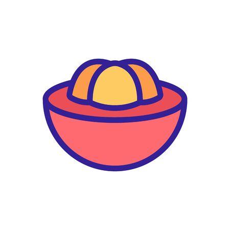 mangosteen sliced piece icon vector. mangosteen sliced piece sign. color symbol illustration