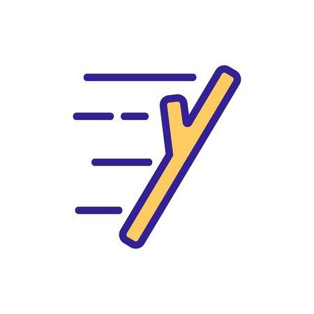 flying wooden stick icon vector. flying wooden stick sign. color symbol illustration 向量圖像