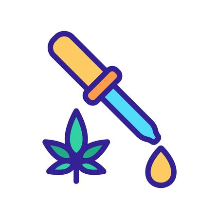 cannabis drop dripping from pipette icon vector. cannabis drop dripping from pipette sign. color symbol illustration 向量圖像