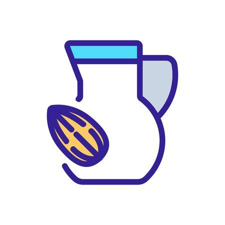 almond drink carafe icon vector. almond drink carafe sign. color symbol illustration 向量圖像
