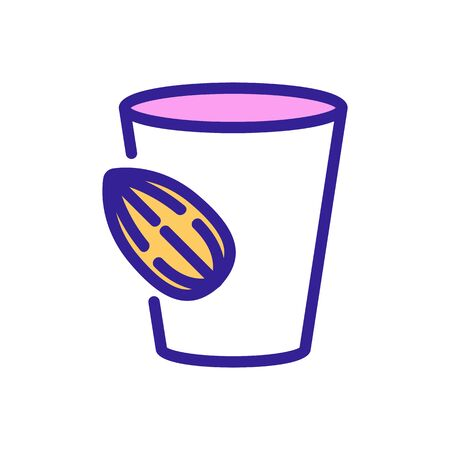 almond beverage cup icon vector. almond beverage cup sign. color symbol illustration 向量圖像