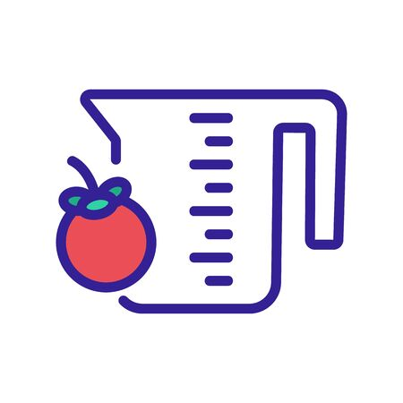 mangosteen fruit and measuring cup icon vector. mangosteen fruit and measuring cup sign. color symbol illustration