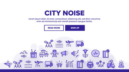 City Noise And Sounds Landing Web Page Header Banner Template Vector. Rattle Of Train Wheels And Car Signal City Traffic, Drill And Jackhammer, Plane And Truck Illustrations  イラスト・ベクター素材