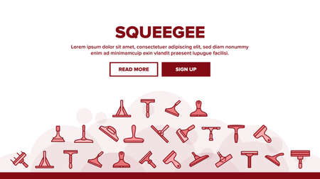 Squeegee For Cleaning Window Landing Web Page Header Banner Template Vector. Brush Squeegee Equipment For Clean Glass, Wash Service Tool In Different Style Illustrations