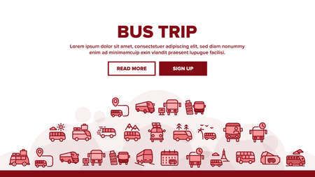 Bus Trip And Travel Landing Web Page Header Banner Template Vector. Bus Trip Calendar Date And Ticket, Fast Passenger Transport Minivan With Luggage Illustrations