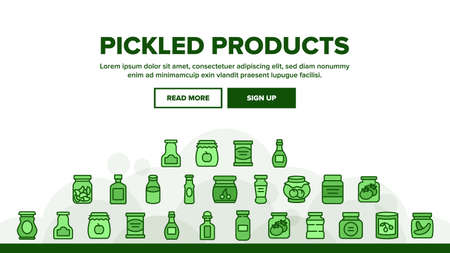 Pickled Product Food Landing Web Page Header Banner Template Vector. Pickled Berry And Fruit, Vegetables And Juice, Tomato And Cherry, Banana And Peach In Jar Illustrations