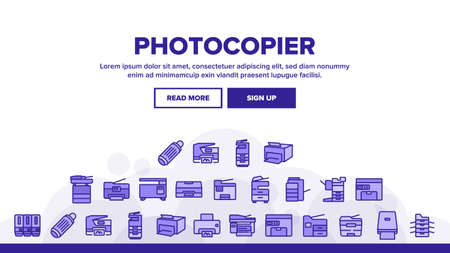 Photocopier Device Landing Web Page Header Banner Template Vector. Professional Photocopier And Scanner Equipment And Ink, Electronic Multifunctional Printer Illustrations
