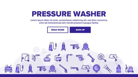 Pressure Washer Tool Landing Web Page Header Banner Template Vector. Pressure Washer Equipment For Wash Car Wheel And Glass, Brush And Sprayer Illustrations