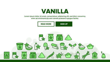 Vanilla Flower Spice Landing Web Page Header Banner Template Vector. Vanilla Stick Spicy Ingredient For Ice Cream And Coffee, Donut And Drink, Bottle And Bag Illustrations Ilustrace