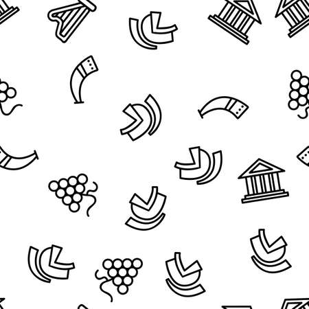 Greek Country Nation Cultural Vector Seamless Pattern Thin Line Illustration